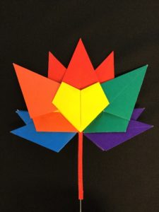 Multi-coloured maple leaf resembling the Canada 150 logo