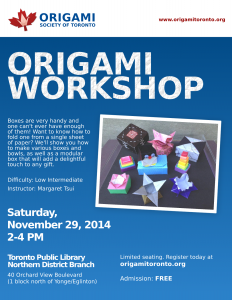 Origami Workshop Nov 2014